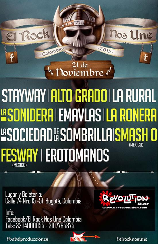 Afiche festival El Rock Nos Une Colombia