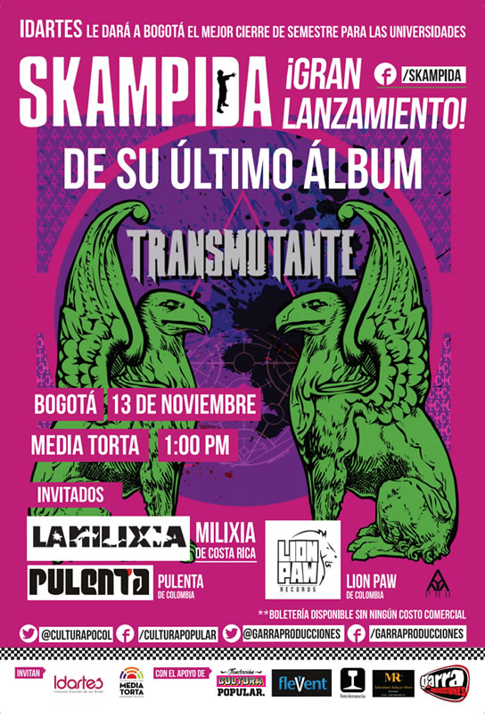 """Afiche lanzamiento """"Transmutante"""" de Skampida"""