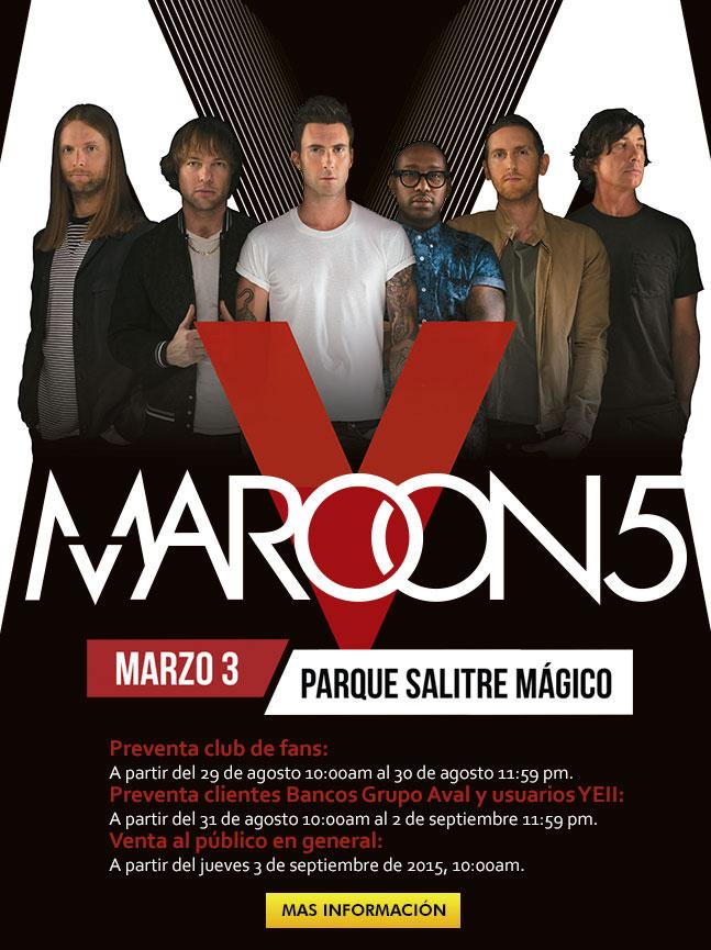 Afiche Maroon 5 en Bogotá