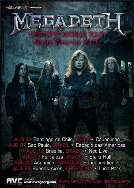 Afiche del tour de Megadeth en sur américa