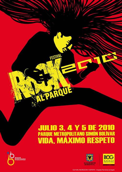 Afiche Oficial de Rock al Parque 2010 diseñado por Gerardo Malagón