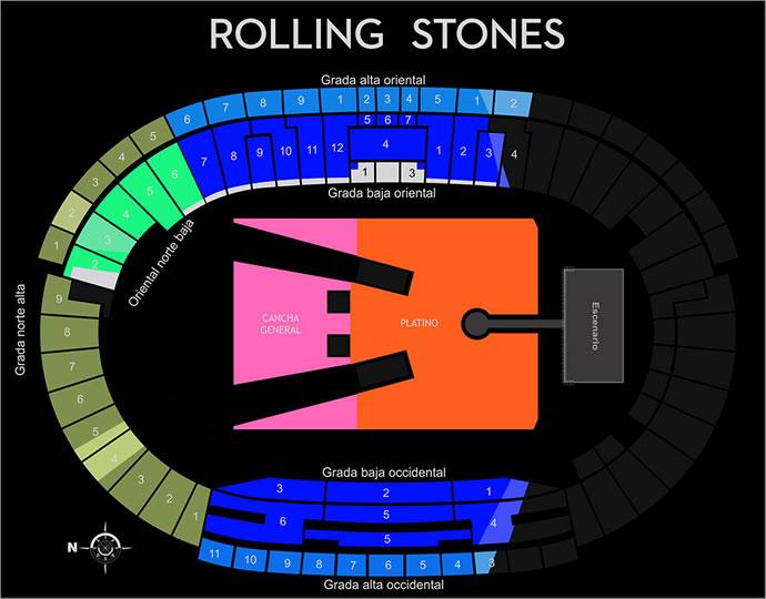 Mapa de ubicaciones Rolling Stones en Bogotá