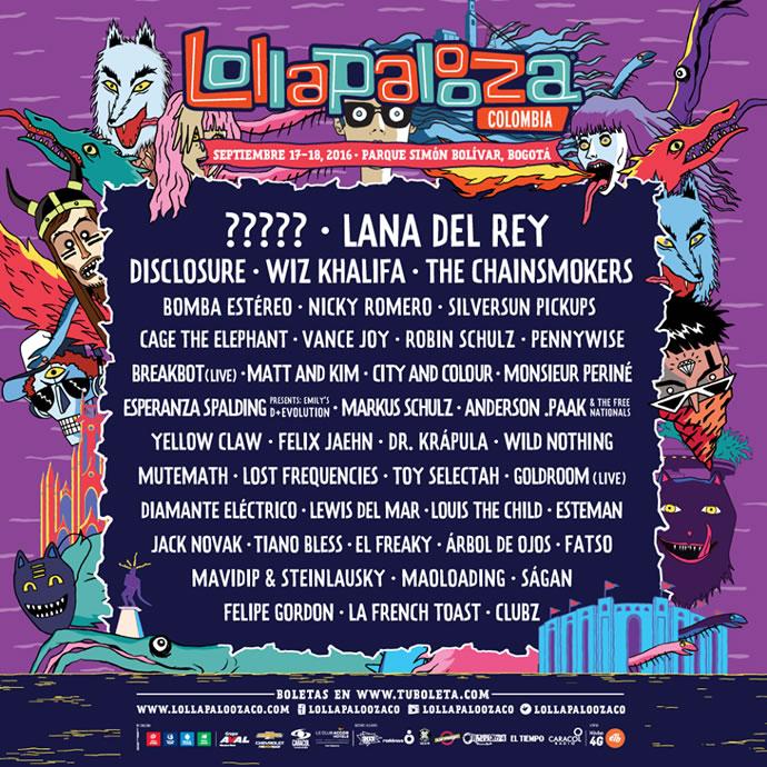 Este es el line up de Lollapalooza Colombia 2016