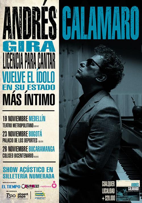Afiche gira de Andrés Calamaro en Colombia