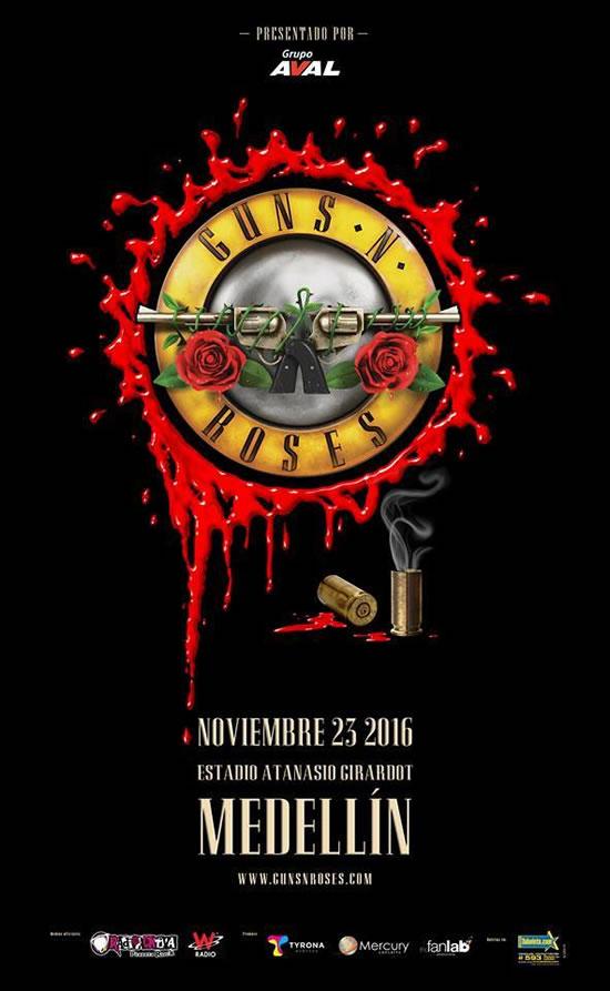 Afiche oficial Guns N´Roses en Medellín