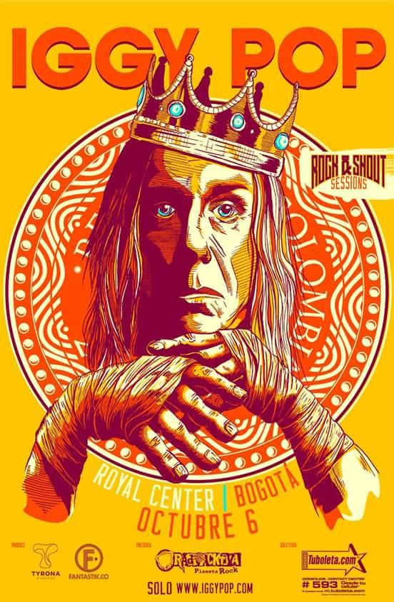 Afiche Oficial del concierto de Iggy Pop en Colombia