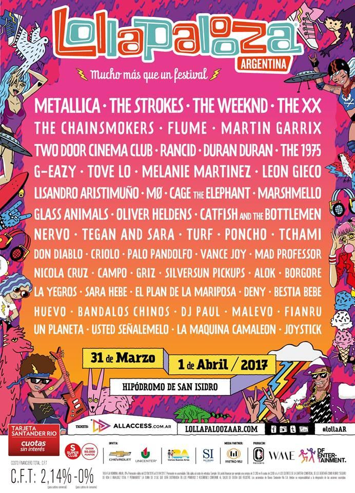 Afiche oficial Lollapalooza Argentina 2017