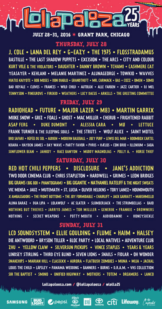 Afiche oficial Lollapalooza Chicago 2016
