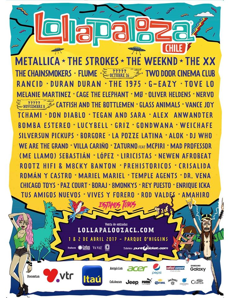 Afiche oficial Lollapalooza Chile 2017