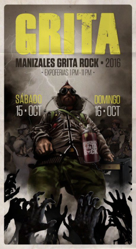 Afiche oficial Manizales Grita Rock 2016