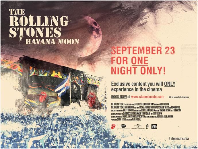 Afiche de presentacion en cines de The Rolling Stones Havana Moon