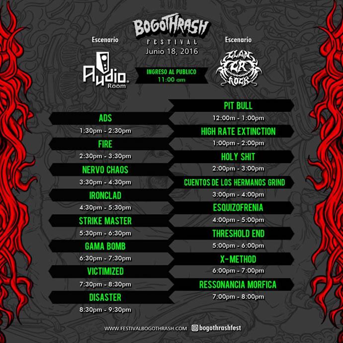 Horarios del Festival Bogothrash 2016