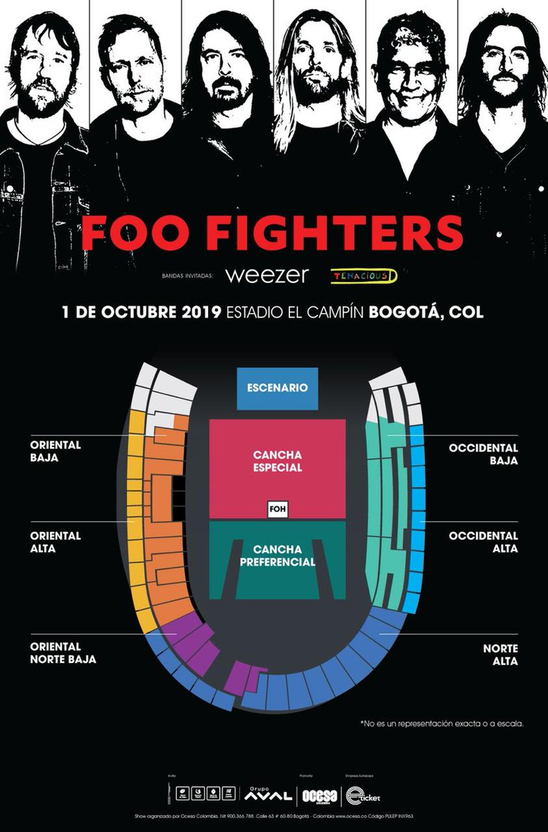 Distribución de localidades para Foo Fighters en Colombia