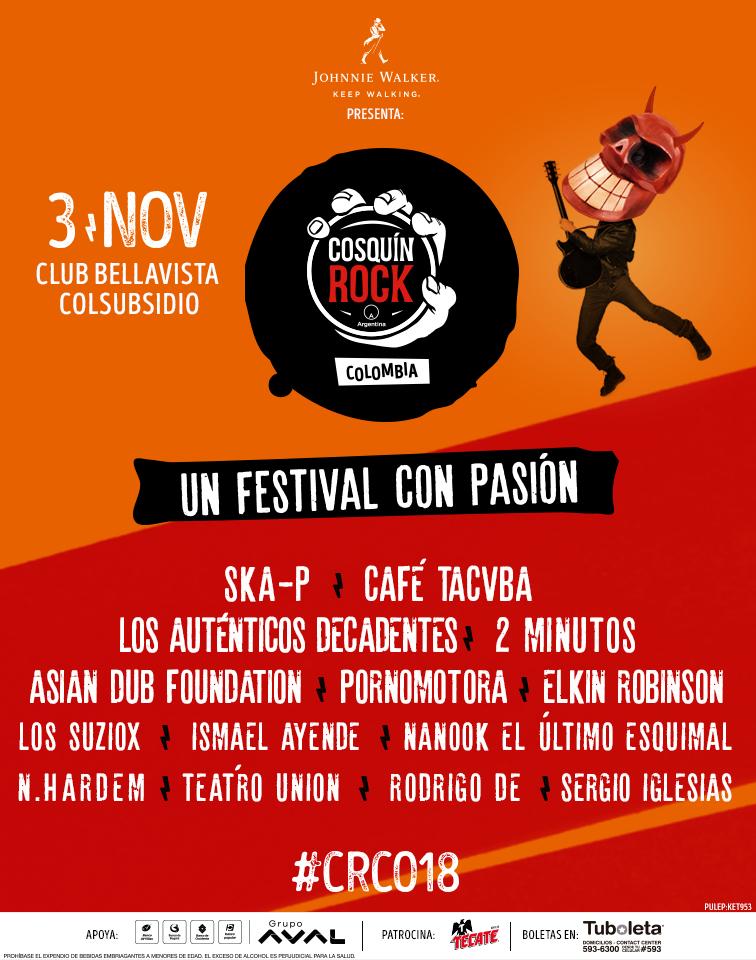 Cartel Oficial Cosquín Rock Colombia, incluyendo a Ska-p