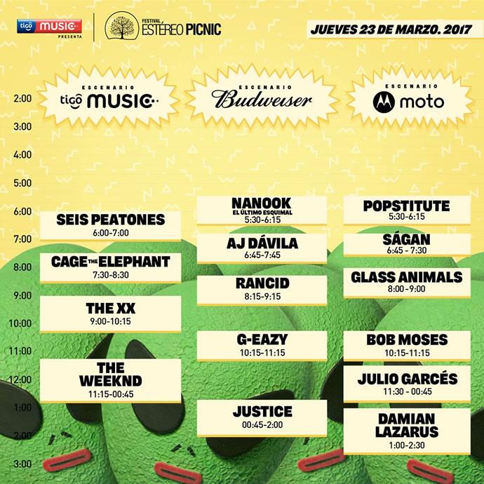 Horario Estéreo Picnic 2017, Jueves 23 de Marzo