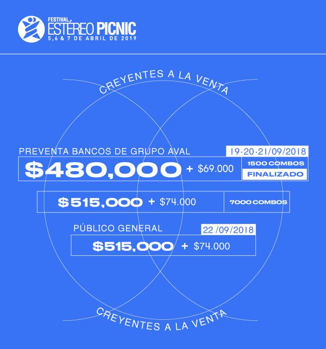 Precios de las boletas Creyentes de Estéreo Picnic 2019