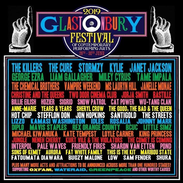 Este es el cartel de Glastonbury 2019