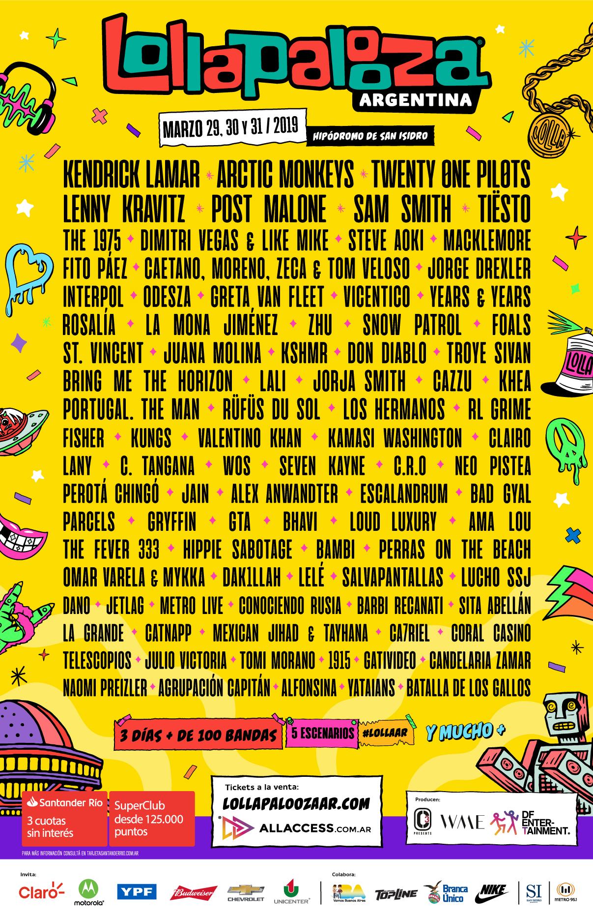Cartel de Lollapalooza Argentina 2019