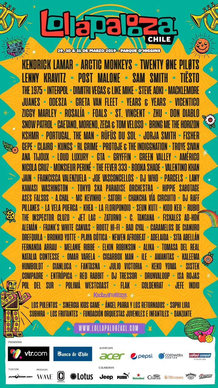 Cartel de Lollapalooza Chile 2019