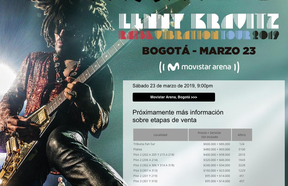 Precios de boletas en preventa concierto Lenny Kravitz en Colombia 2019