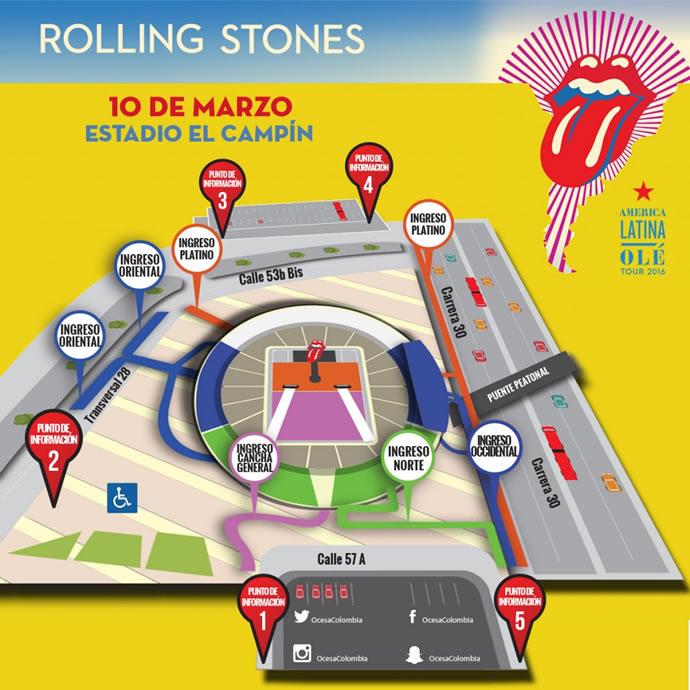 Mapa de acceso a The Rollling Stones en Bogotá