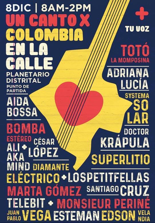 Artistas que participaran en #UnCantoXColombia