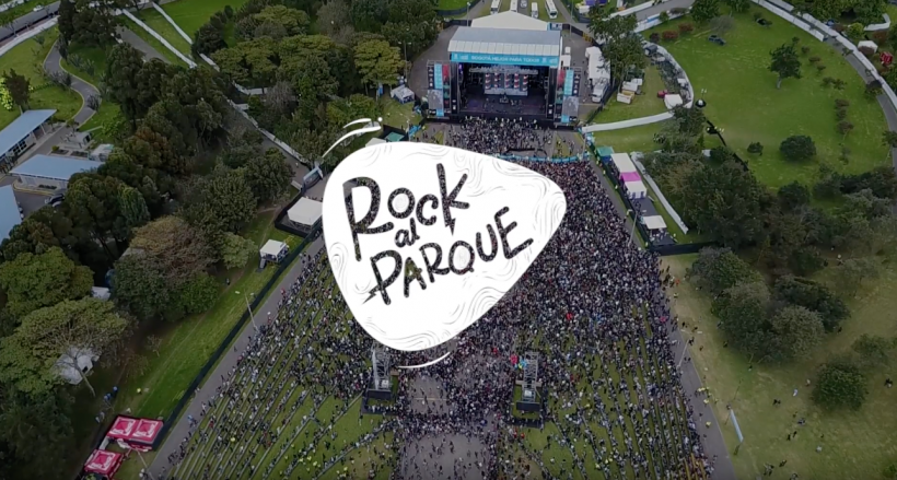 Vista áerea del escenario principal del Parque Simón Bolívar en Rock al Parque