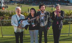 Roberto Medina presidente de Rock in Rio y representantes del gobierno chileno