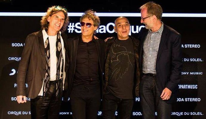 Francois Bouchard, Charly Alberti, Zeta Bosio y Charles Joron en la presentación de SodaCirque. Foto: El Comercio Perú.
