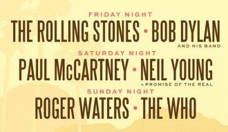 The Rolling Stones, Bob Dylan, Paul McCartney, Neil Young, Roger Waters y The Who en un mismo escenario del 7 al 9 de octubre de 2016
