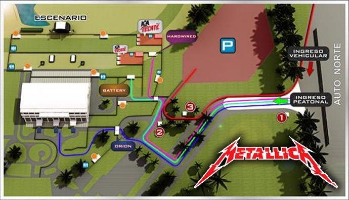 Mapa de acceso para el concierto de Metallica en Bogotá